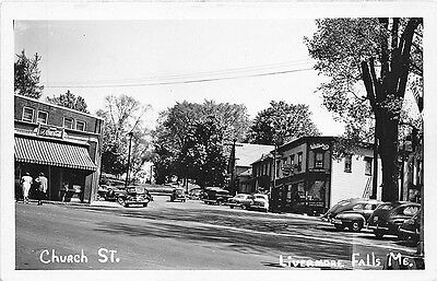 Livermore Falls ME Street View Store Fronts Old Cars Real Photo RPPC (Livermore Stores)