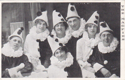 POSTCARD THE MAGPIES COSTUME FANCY DRESS UK C 1910