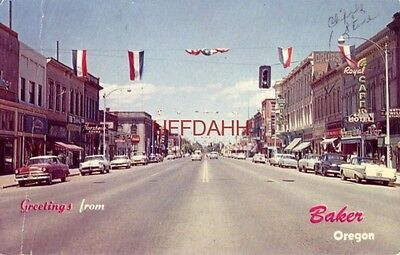 GREETINGS FROM BAKER, OREGON. MAIN STREET 1959 Cliff's store, Love Blanche