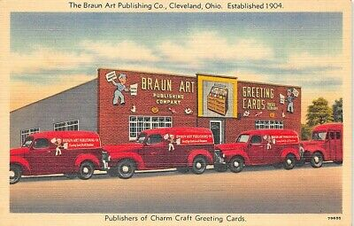 Cleveland OH Braun Art Greeting Cards Delivery Trucks Linen Postcard