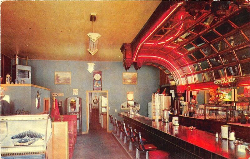 Mackay ID Lost River Cafe Restaurant Juke Box Cigarette Vending Postcard