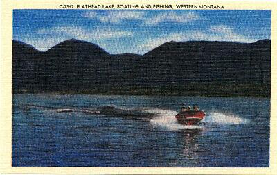 "MT Montana: ""Flathead Lake Boating & Fishing"" Unposted Cecil Nixon Linen Card"