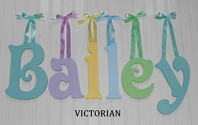 """Wooden Wall Letters 8"""" size Painted Wood Nursery Playroom Names Decor Victorian"""