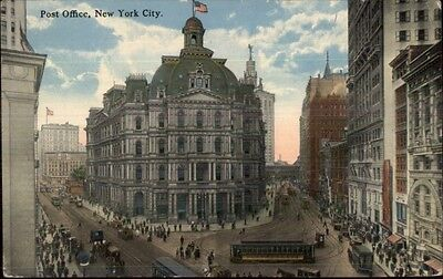 New York City Post Office   Street Scene C1910 Postcard