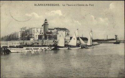 Blankenberghe Port & Lighthouse 1913 Used Postcard