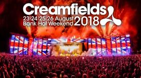 2x Creamfields gold 2 day camping tickets (weekend)