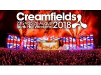 Cream fields 2018, Bronze ticket, 4 day camping- Thursday to Monday.