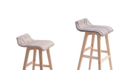 65cm/74cm Height Fabric Plywood Bar Stool Barstools