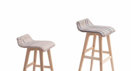 65cm/74cm Height Fabric Plywood Bar Stool Barstools