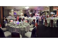 White lycra chair covers, a variety or organza chair sashes and table decorations for hire