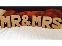 Wedding Decorations - Mr & Mrs 10cm Mache Letters & Hessian & Lace Heart Bunting