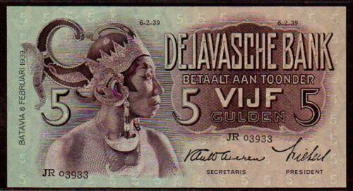 "NETHERLANDS INDIES P78 1939 ""JAVANESE DANCERS"" 5 GULDEN RAW ALMOST UNCIRCULATED!"