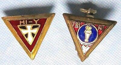 2 Vintage Enamel YMCA or YWCA Fraternity Service Pins TRI- HI-Y & HI-Y