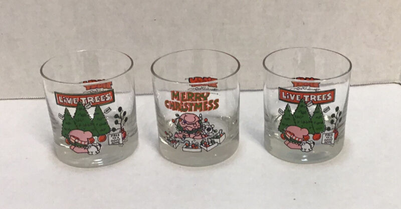 Ziggy Tom Wilson Set of 3 Christmas  Glasses 1980