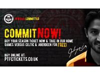 2018/19 Partick Thistle Season Ticket For Sale