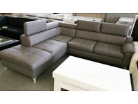 *BRAND NEW MODEL* REAL LEATHER&FABRIC CORNER SOFA BED WITH STORAGE (FREE DELIVERY)