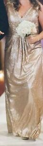 Beautiful long, gold, sequined gown; handmade (size 10), worn 1x