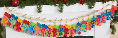 Dimensions Felt Embroidery Kit - Felt Embroidery Kit ~ Dimensions Christmas Advent Stocking Garland #72-08280