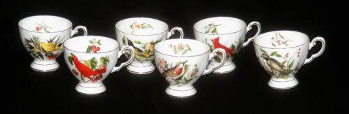 6 Royal Chelsea England Bone China Audubon Birds Footed Cup