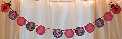 It's a girl baby shower ladybug red/black/white/pink custom name hanging banner - Pink And Black Baby Shower Decorations