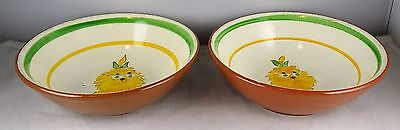 Rare Pair Of Stangl Pottery Wizard Of Oz Cowardly Lion Cereal Bowls Kiddieware