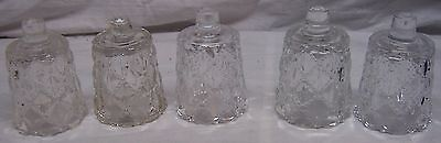 HOME INTERIORS / HOMCO VOTIVE CUPS - 5 SMALL CLEAR DIAMOND & DOT VOTIVE CUPS