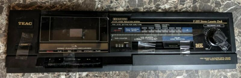 Teac V-205 Stereo Cassette Player Front Panel All Buttons No Circuitry