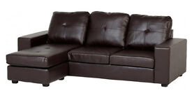 **7-DAY MONEY BACK GUARANTEE!** Benzy Leather Corner Sofa- RRP£399!!