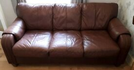 Brown/Tan Leather Sofa for sale