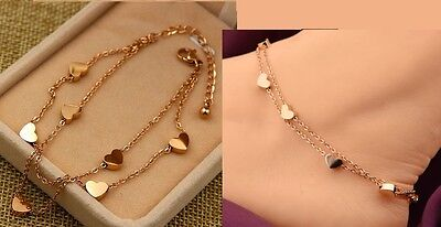 Rose Gold Stainless Steel Heart Charm Anklet Foot Ankle Chain Bracelet Gift PE13