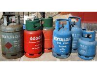 job lot of 7 empty butane propane/ Gas bottles 4.5kg 7kg 13kg Upcycling?