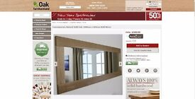Contemporary Solid Oak Mirror from Oak Furniture Land
