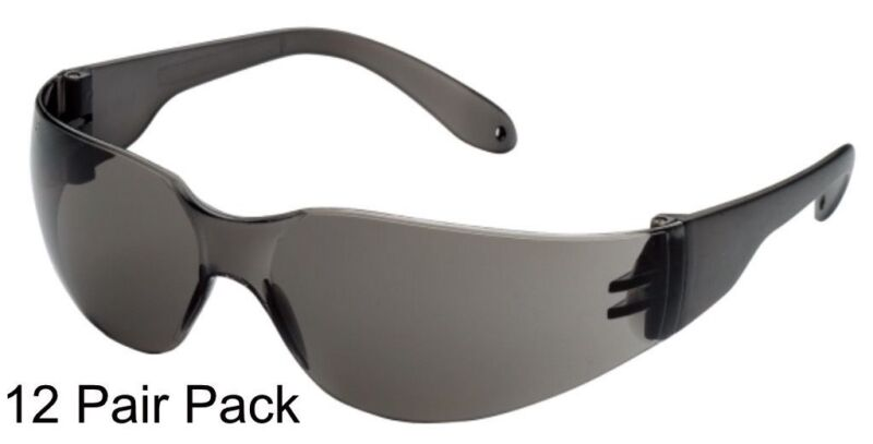 12 PAIR PACK Protective Safety Glasses Grey Smoke Lens Sunglasses Work