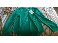 Women V Neck Long Sleeve Blouse - Green