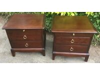Two stag bedside, side chest of drawers / cabinet