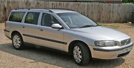 Volvo V70 Estate. 2001. X Reg. 2.4 Turbo, Petrol, Auto. MOT Feb 2018. 118,000 miles. Silver.