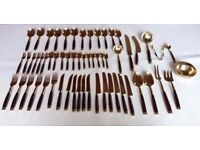 Bronze and Rosewood 59 piece cutlery set