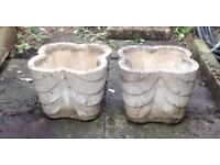 "Two square concrete planters, rounded corners, Deco feel, 10"" high"