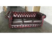 Ox Blood Red leather Chesterfield sofa Can deliver