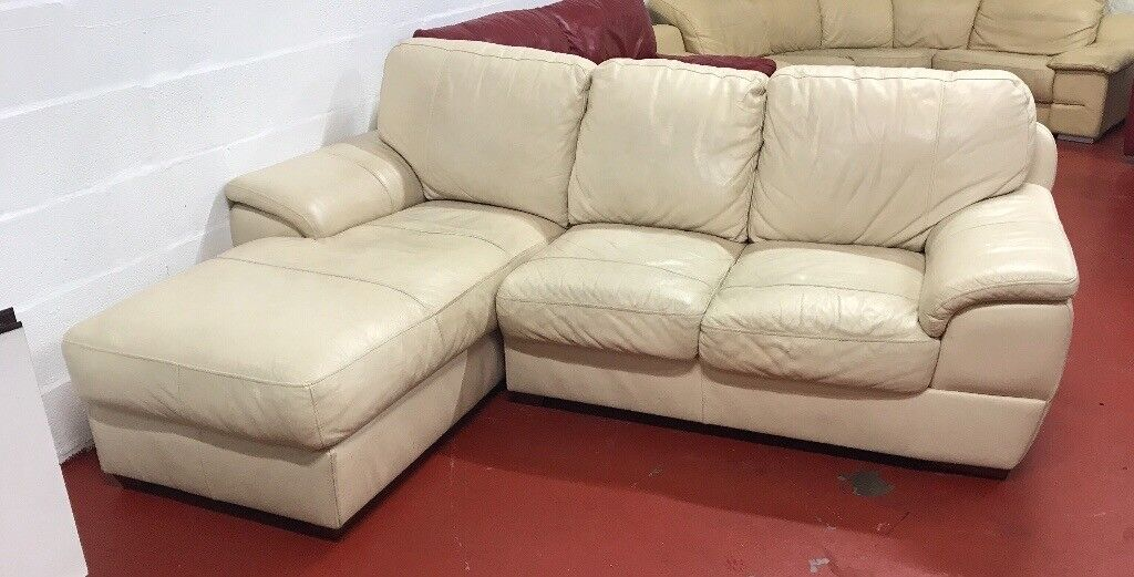 Cream leather corner L sofa DELIVERY AVAILABLE