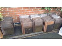 """USED Russell Grampian Concrete roof tiles measuring 13"""" x 17"""" Job lot of 60"""