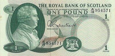 Royal Bank Of Scotland 1 Pound 1967 P 327   Scarce Choice Crisp Uncirculated