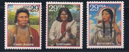 NATIVE AMERICAN INDIANS - CHIEF JOSEPH, GERONIMO, SACAGAWEA - 3 MINT U.S. STAMPS