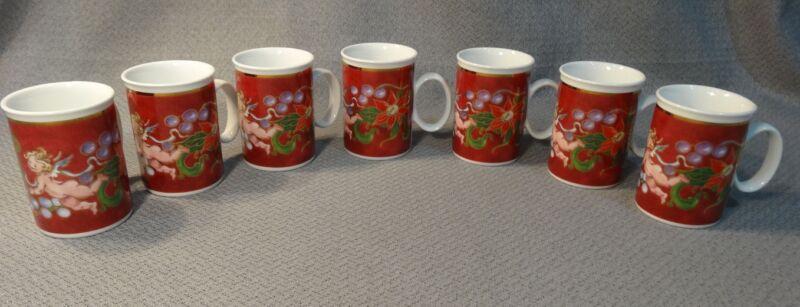Porsgrund Norway ANGELIC HOLIDAY Christmas Angels Chrysanthemum Coffee Mugs Lot