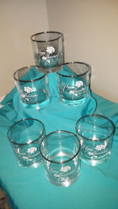 """Anniversary Silver Rimmed """"Old Fashioned"""" beverage tumblers"""