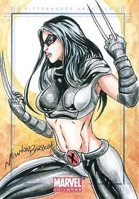 MARVEL: Universe series 1 sketch card of X-23 X-FORCE X-MEN by NEWTON BARBOSA!