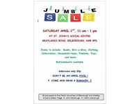 JUMBLE SALE, ST. JOHN'S CHURCH, BILBOROUGH, NOTTINGHAM THIS SATURDAY