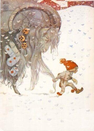 John Bauer Fairy Tale Elf Tomte Boy Christmas Goat Large Postcard Sweden