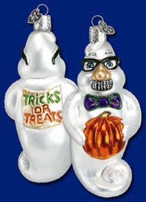 *Grouchy Ghost* [26035] Old World Christmas Glass Halloween Ornament - NEW - Old World Glass Ornaments Halloween