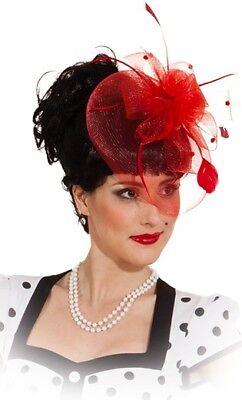 Damen Rote Blume Feder Schleier 1950s Stil Mini Hut Kostüm Kleid - 1950's Stil Kostüm